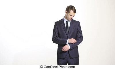répression, croisement, arms., business, corps, bras, complet, geste, isolé, hands., homme, gestes, blanc, opinion, arrière-plan., déguisé, language.