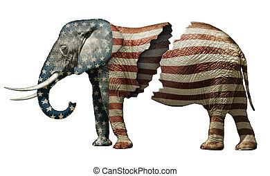 républicain, fracturé, éléphant