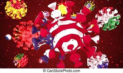 république, grand, drapeaux, grande-bretagne, animation, italie, tchèque, différent, porcelaine, covid19, canal, rouges, alpha, usa, coronavirus, france, virus, countries., espagne, 2019-ncov, balle, arrière-plan., 3d, sphères, suède