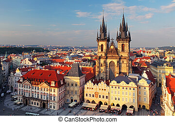 république, tchèque, vieux, carrée, ville, prague