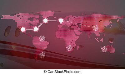 réseau, animation, planisphère, global, connexions, fond