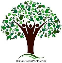 réseau, arbre généalogique, vecteur, mains, logo