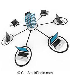 réseau, archive, database., ou, portables, informatique, résumé