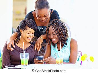 réseau, bavarder, africaine, social, amis, heureux