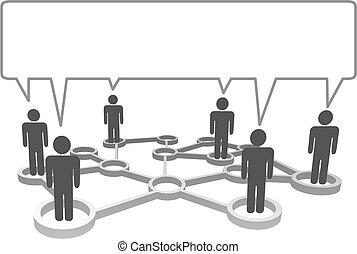 réseau, bubble., symbole, gens, communiquer, connecté, parole, noeuds