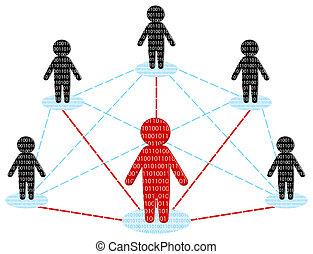 réseau, business, concept., communication., illustration, vecteur, équipe