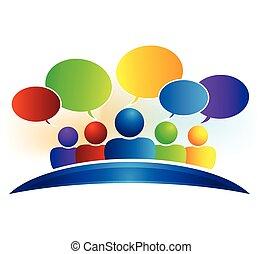 réseau, business, média, conversation, parole, social, bulles