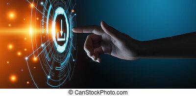 réseau, business, téléchargement, internet, stockage, concept, technologie, données