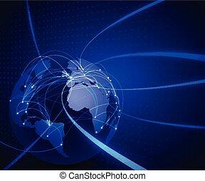 réseau, communication, illustration, maille, technologie, vecteur, mondiale, fond, concept