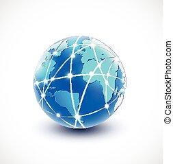 réseau, communication, illustration, vecteur, mondiale, technologie