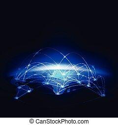 réseau, concept, communication, illustration, vecteur, monde numérique, technologie, maille