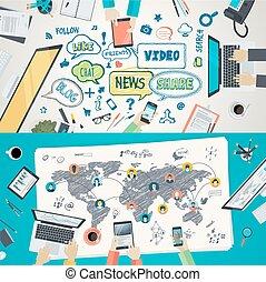 réseau, concepts, social, plat