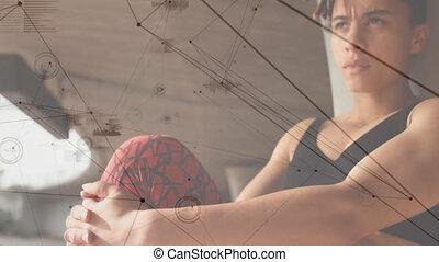 réseau, connexions, sur, femme, animation, exercisme, crise