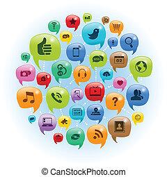 réseau, conversation, social