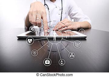 réseau, docteur, écran, moderne, connection., virtuel, médecine, informatique, interface, monde médical, icône