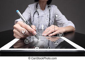 réseau, docteur médical, écran, moderne, connection., virtuel, médecine, informatique, interface, santé, icône, concept., soin