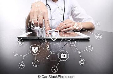 réseau, docteur médical, écran, moderne, connection., virtuel, médecine, informatique, interface, concept., icône