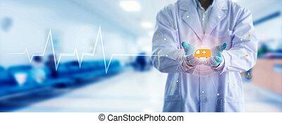 réseau, docteur, monde médical, moderne, virtuel, main, connexion, toucher, stéthoscope, interface., médecine, écran, icône