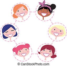 réseau, femmes, isolé, groupe, multiculturel, blanc