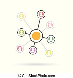 réseau, fonctionnement, concept., équipe, illustration, connexion, vecteur, humain, social, modèle