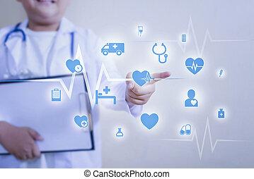 réseau, fonctionnement, docteur, monde médical, moderne, virtuel, main, connexion, toucher, interface., médecine, écran, icône