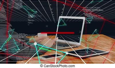 réseau, fonctionnement, global, ordinateur portable, homme affaires, premier plan