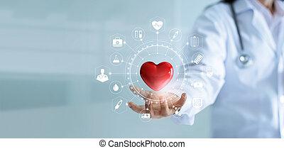 réseau, forme, icône, écran, technologie, connexion, tenue, concept, rouges, service médical, virtuel, main, interface, moderne, esprit, médecine, coeur, docteur