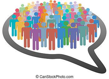 réseau, foule, gens, média, parole, social, bulle