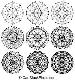 réseau, fractal, adn, molécule, ...