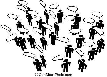 réseau, gens, média, communiquer, parole, relier, social