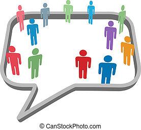 réseau, gens, média, symboles, parole, social, bulle