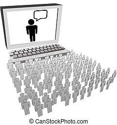 réseau, gens, montre, audience, informatique, social, moniteur