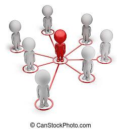 réseau, gens, -, petit, associé, 3d