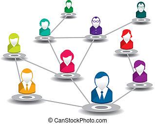 réseau, gens, social