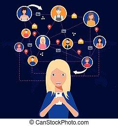réseau, gens, sur, tout, connecter, social, world.