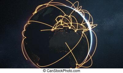 réseau, global, -, animation, version, nuit, orange, la terre