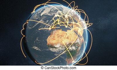 réseau, global, -, animation, version, orange, jour terre