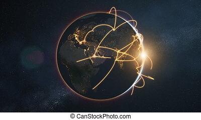 réseau, global, -, version, nuit, orange, la terre, boucle