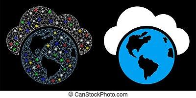réseau, globe, maille, clair, taches, icône, lumière