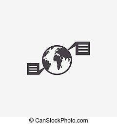 réseau, icône, globe