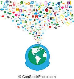 réseau, icônes, média, fond, social, homme