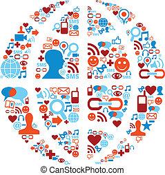 réseau, icônes, média, symbole, social, mondiale