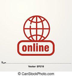 réseau, icon., global, icône, ligne, rouges