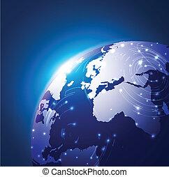 réseau, illustration, vecteur, mondiale, fond, technologie
