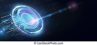 réseau, inscription:, business, virtuel, homme affaires, technologie, jeune, cso, voit, internet, réalité, lunettes, concept., fonctionnement
