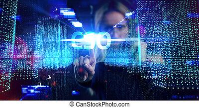 réseau, internet, virtuel, cso, concept., fonctionnement, technologie, homme affaires, réalité, jeune, lunettes, voit, business, inscription: