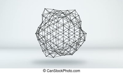 réseau, loopable, forme, animation, futuriste, 3d