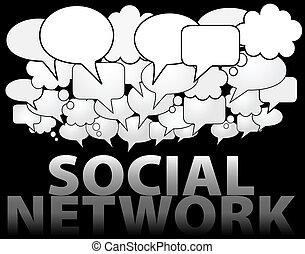 réseau, média, parole, social, bulle, nuage
