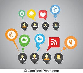 réseau, média, résumé, parole, social, bulles