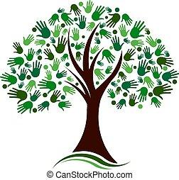 réseau, mains, arbre, vecteur, social, logo